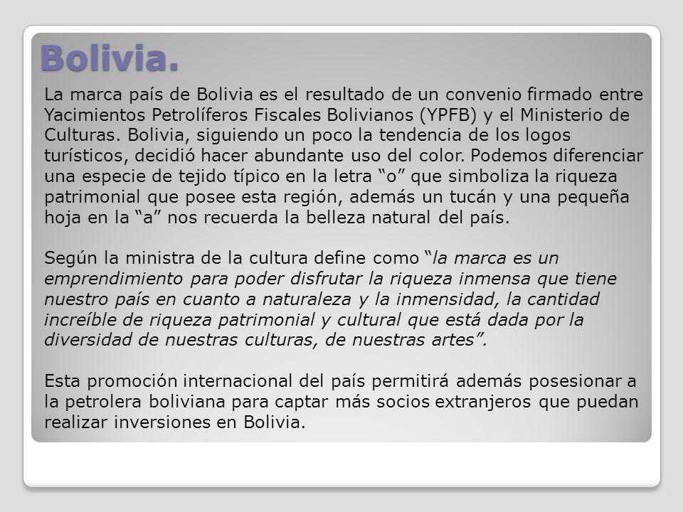 Bolivia. La marca país de Bolivia es el resultado de un convenio firmado entre Yacimientos Petrolíferos Fiscales Bolivianos (YPFB) y el Ministerio de