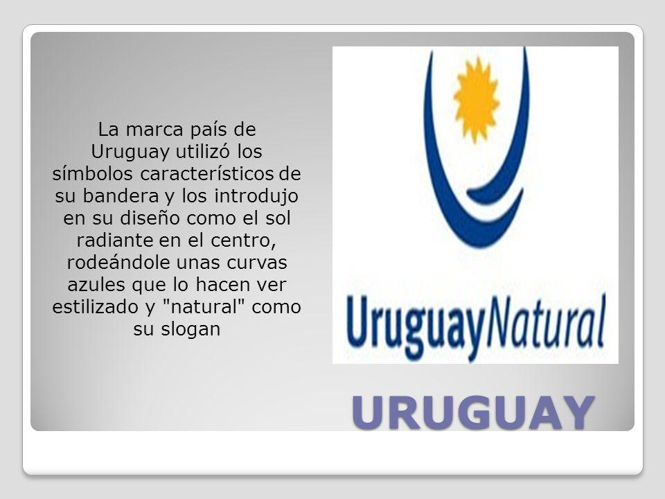 URUGUAY La marca país de Uruguay utilizó los símbolos característicos de su bandera y los introdujo en su diseño como el sol radiante en el centro, rodeándole unas curvas azules que lo hacen ver estilizado y natural como su slogan