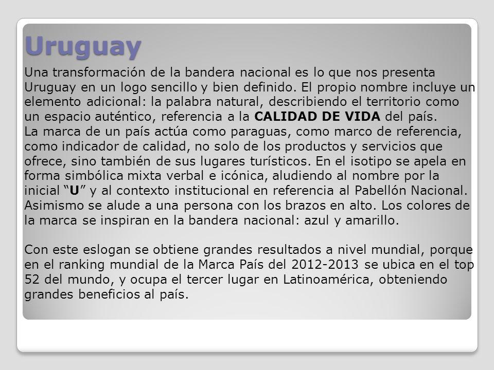 Uruguay Una transformación de la bandera nacional es lo que nos presenta Uruguay en un logo sencillo y bien definido. El propio nombre incluye un elem