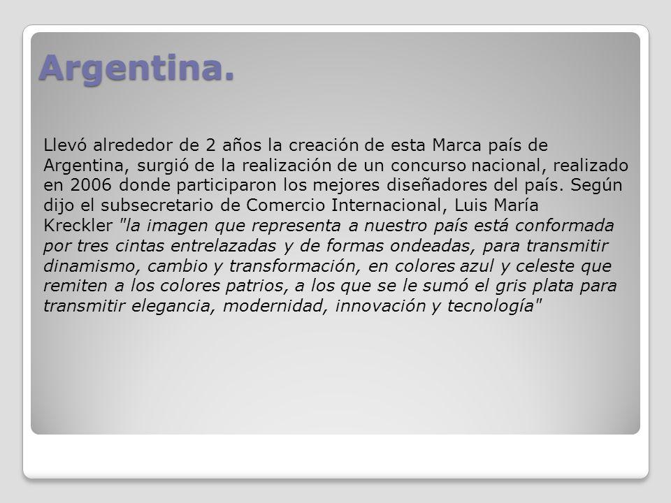 Argentina. Llevó alrededor de 2 años la creación de esta Marca país de Argentina, surgió de la realización de un concurso nacional, realizado en 2006