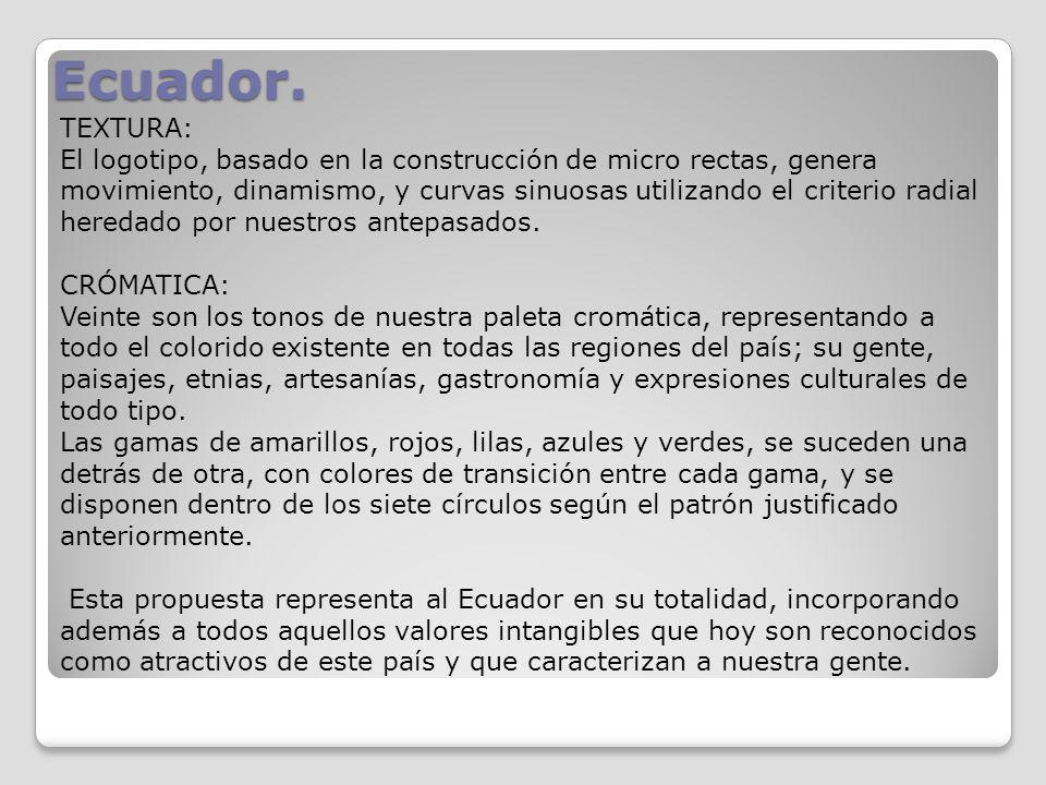 Ecuador. TEXTURA: El logotipo, basado en la construcción de micro rectas, genera movimiento, dinamismo, y curvas sinuosas utilizando el criterio radia