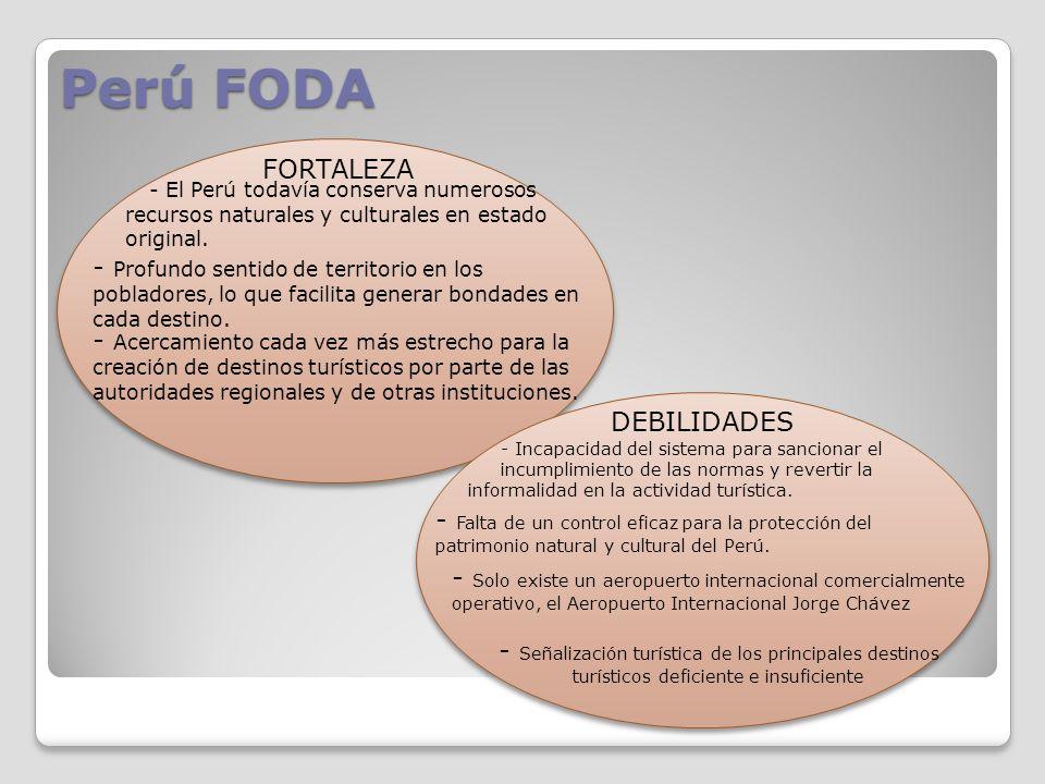Perú FODA FORTALEZA - El Perú todavía conserva numerosos recursos naturales y culturales en estado original. - Profundo sentido de territorio en los p