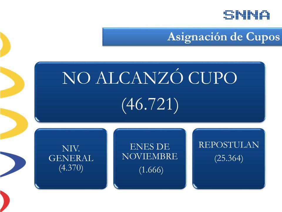 NO ALCANZÓ CUPO (46.721) NIV. GENERAL (4.370) ENES DE NOVIEMBRE (1.666) REPOSTULAN (25.364) Asignación de Cupos