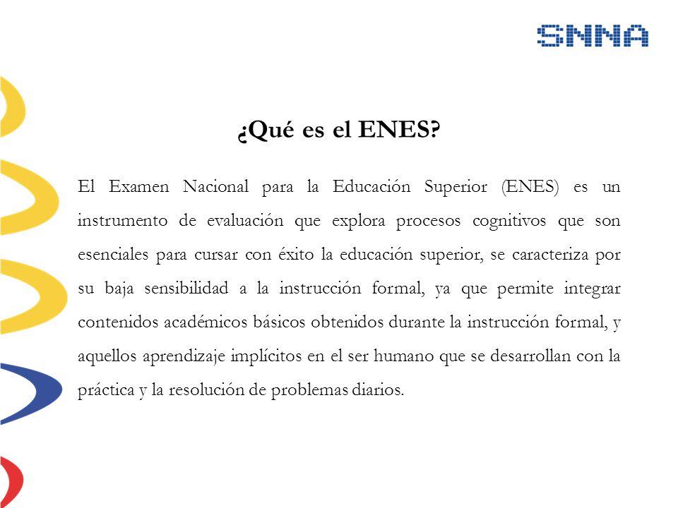 ¿Qué es el ENES? El Examen Nacional para la Educación Superior (ENES) es un instrumento de evaluación que explora procesos cognitivos que son esencial
