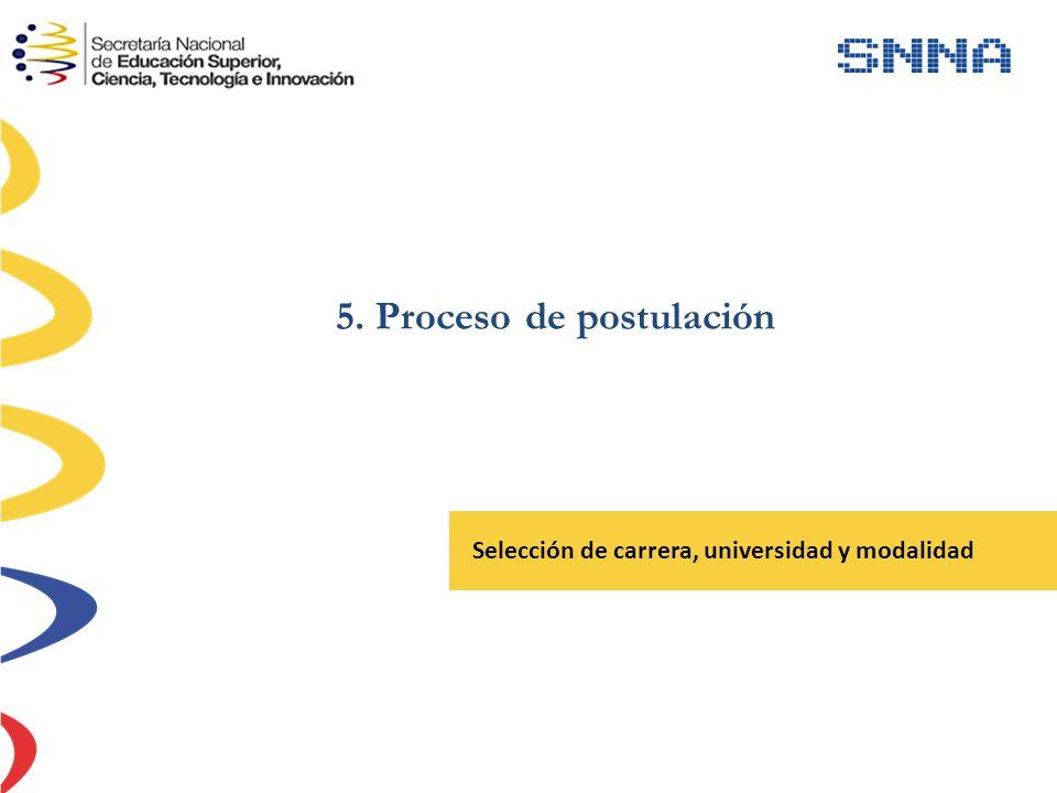 5. Proceso de postulación Selección de carrera, universidad y modalidad
