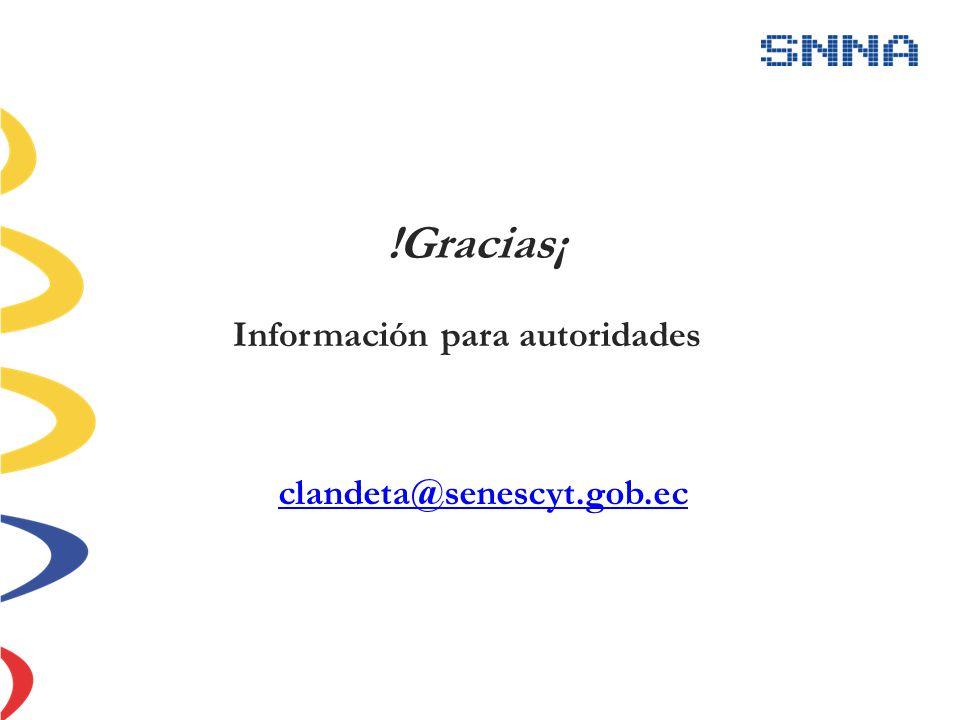 clandeta@senescyt.gob.ec Información para autoridades !Gracias¡