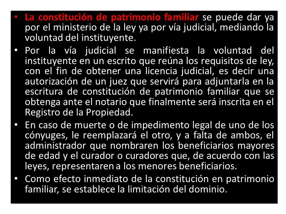 La constitución de patrimonio familiar La constitución de patrimonio familiar se puede dar ya por el ministerio de la ley ya por vía judicial, mediand
