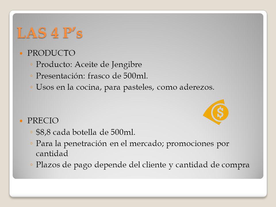 LAS 4 Ps PRODUCTO Producto: Aceite de Jengibre Presentación: frasco de 500ml. Usos en la cocina, para pasteles, como aderezos. PRECIO $8,8 cada botell