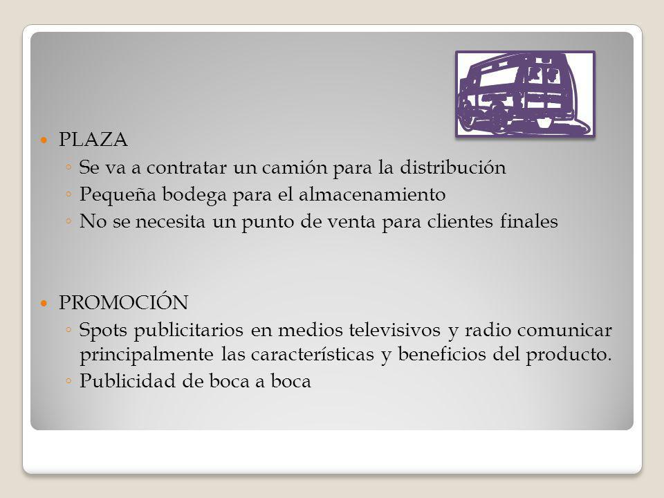 PLAZA Se va a contratar un camión para la distribución Pequeña bodega para el almacenamiento No se necesita un punto de venta para clientes finales PR