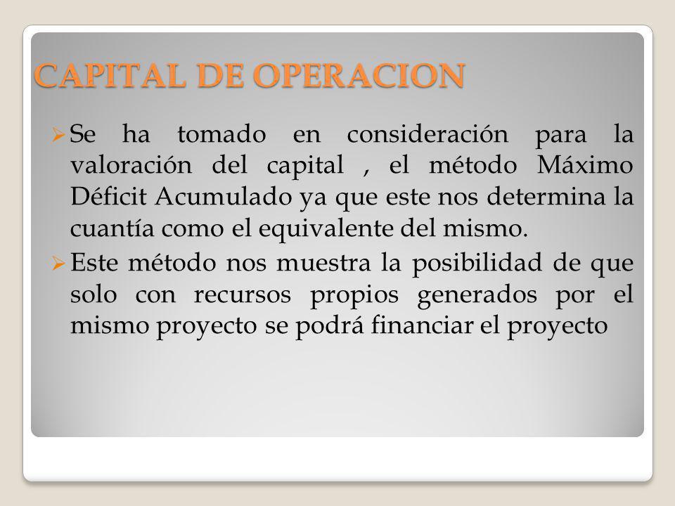 Se ha tomado en consideración para la valoración del capital, el método Máximo Déficit Acumulado ya que este nos determina la cuantía como el equivale