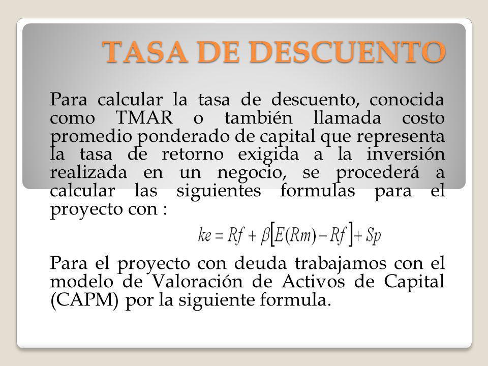 TASA DE DESCUENTO Para calcular la tasa de descuento, conocida como TMAR o también llamada costo promedio ponderado de capital que representa la tasa