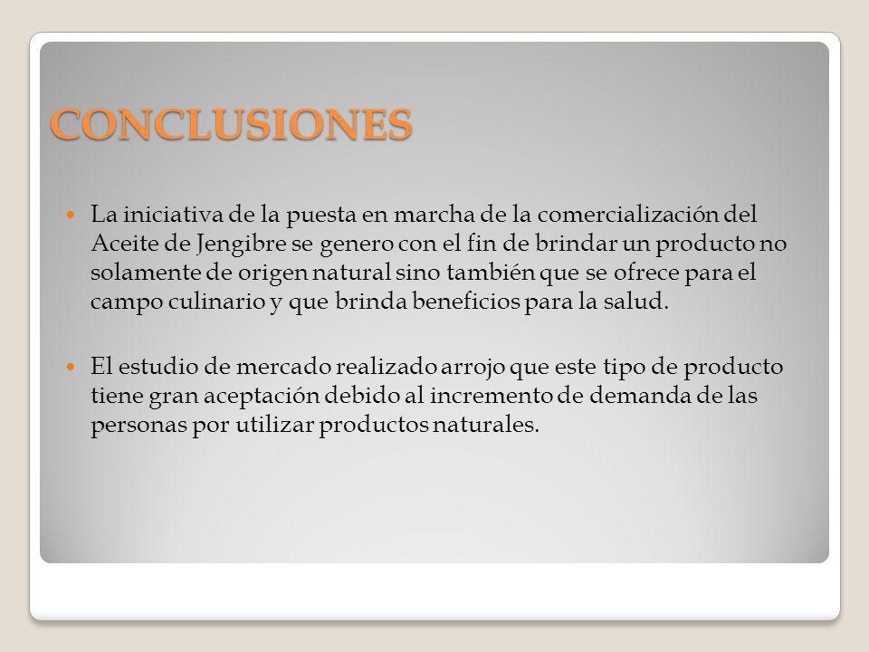 CONCLUSIONES La iniciativa de la puesta en marcha de la comercialización del Aceite de Jengibre se genero con el fin de brindar un producto no solamen