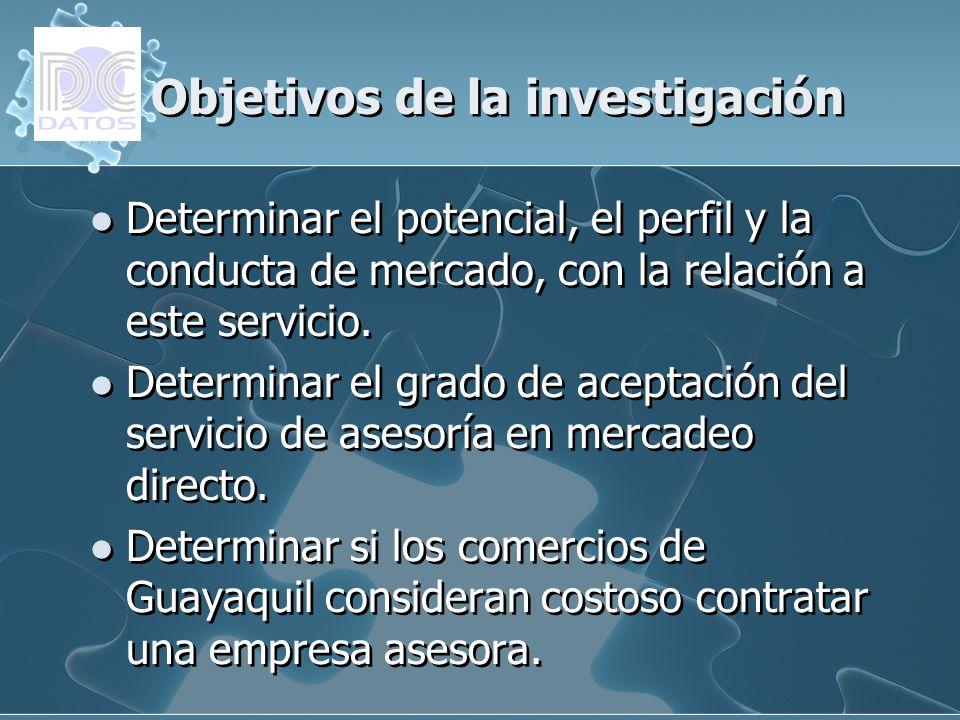Objetivos de la investigación Determinar el potencial, el perfil y la conducta de mercado, con la relación a este servicio. Determinar el grado de ace