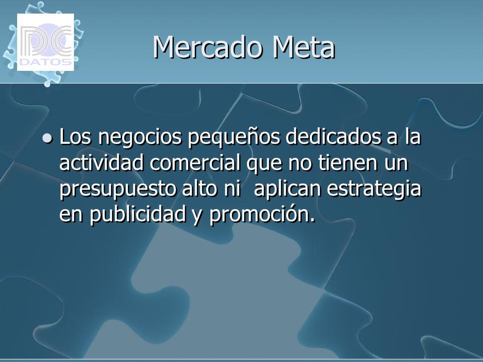 Mercado Meta Los negocios pequeños dedicados a la actividad comercial que no tienen un presupuesto alto ni aplican estrategia en publicidad y promoció