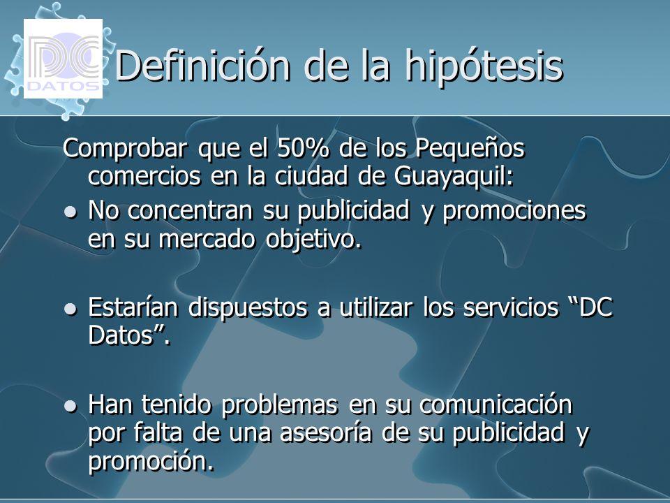 Definición de la hipótesis Comprobar que el 50% de los Pequeños comercios en la ciudad de Guayaquil: No concentran su publicidad y promociones en su m