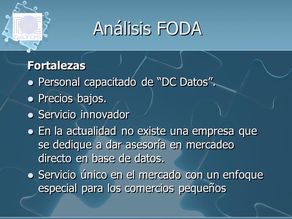 Análisis FODA Fortalezas Personal capacitado de DC Datos. Precios bajos. Servicio innovador En la actualidad no existe una empresa que se dedique a da