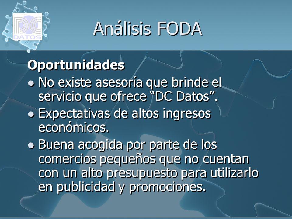 Análisis FODA Oportunidades No existe asesoría que brinde el servicio que ofrece DC Datos. Expectativas de altos ingresos económicos. Buena acogida po