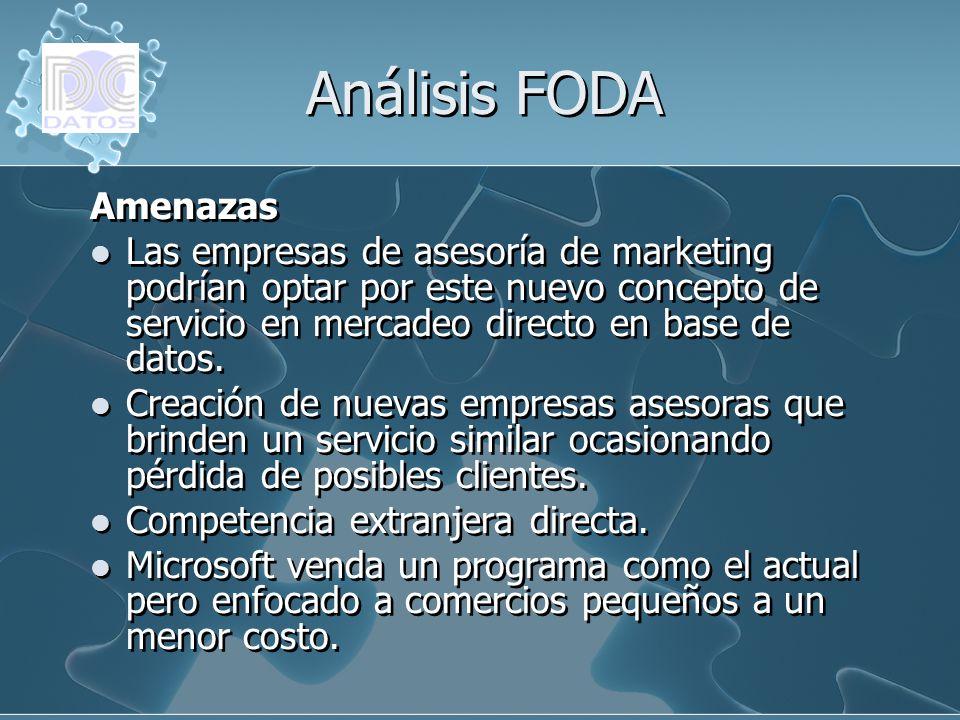 Análisis FODA Amenazas Las empresas de asesoría de marketing podrían optar por este nuevo concepto de servicio en mercadeo directo en base de datos. C