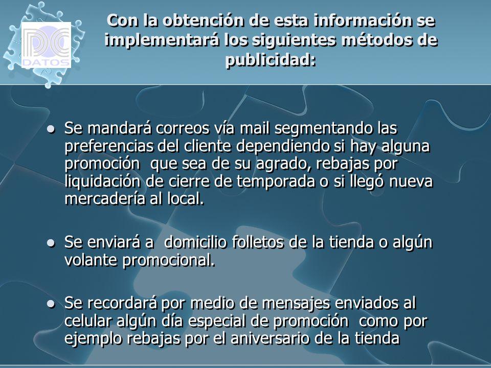 Con la obtención de esta información se implementará los siguientes métodos de publicidad: Se mandará correos vía mail segmentando las preferencias de