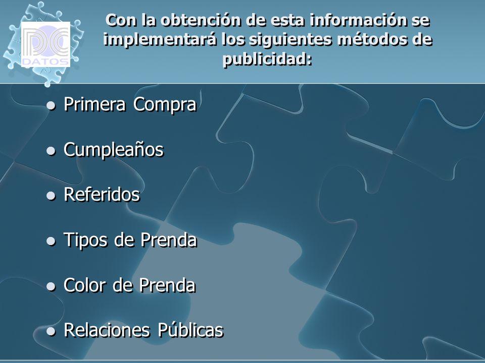 Con la obtención de esta información se implementará los siguientes métodos de publicidad: Primera Compra Cumpleaños Referidos Tipos de Prenda Color d
