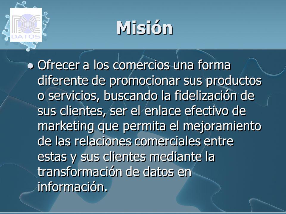 Misión Ofrecer a los comercios una forma diferente de promocionar sus productos o servicios, buscando la fidelización de sus clientes, ser el enlace e
