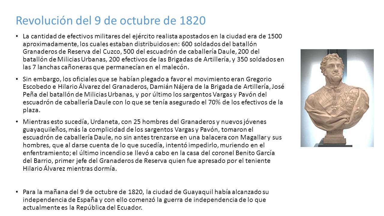 Revolución del 9 de octubre de 1820 La cantidad de efectivos militares del ejército realista apostados en la ciudad era de 1500 aproximadamente, los c