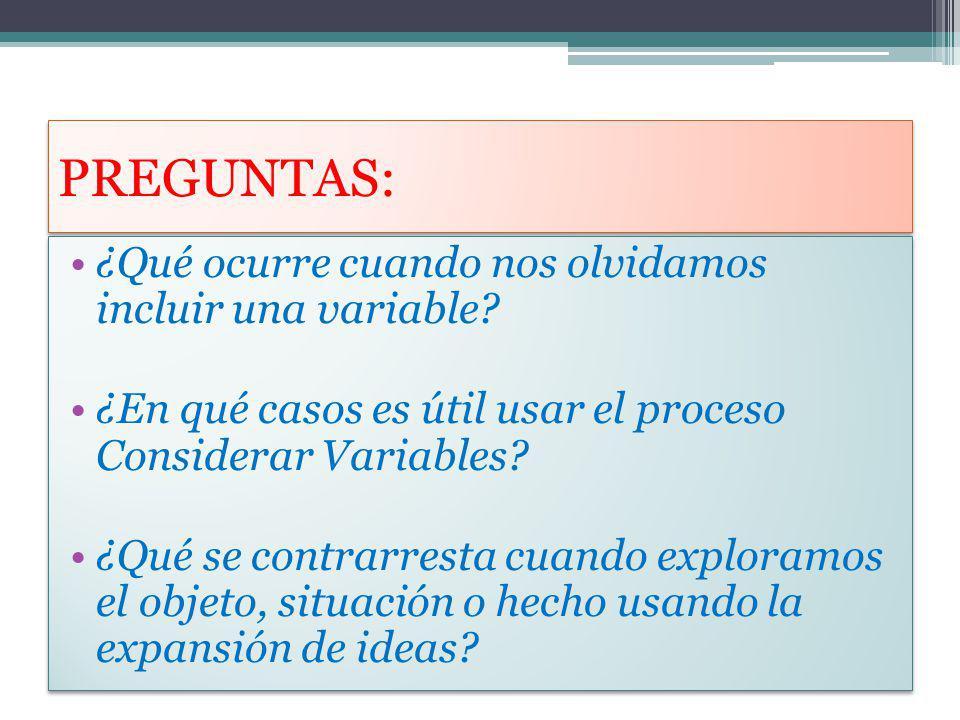 PREGUNTAS: ¿Qué ocurre cuando nos olvidamos incluir una variable? ¿En qué casos es útil usar el proceso Considerar Variables? ¿Qué se contrarresta cua