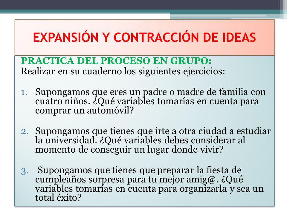 EXPANSIÓN Y CONTRACCIÓN DE IDEAS PRACTICA DEL PROCESO EN GRUPO: Realizar en su cuaderno los siguientes ejercicios: 1.Supongamos que eres un padre o ma