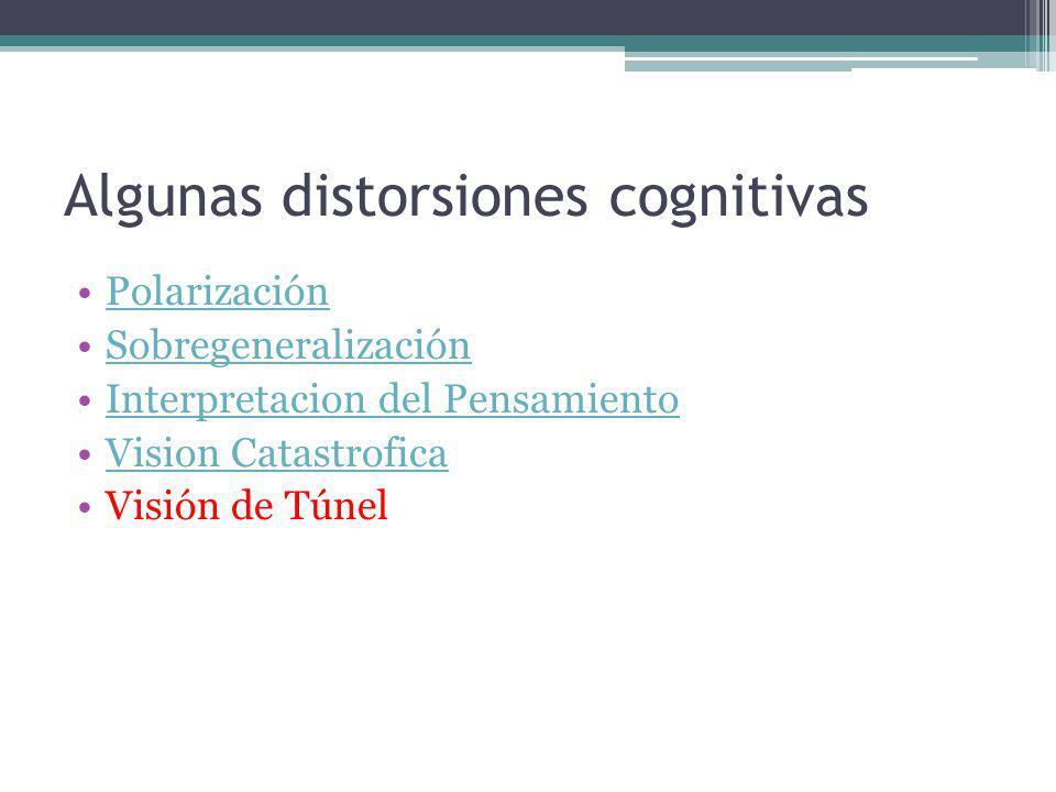 Algunas distorsiones cognitivas Polarización Sobregeneralización Interpretacion del Pensamiento Vision Catastrofica Visión de Túnel