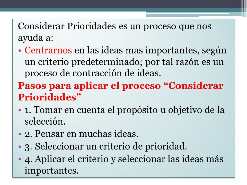 Considerar Prioridades es un proceso que nos ayuda a: Centrarnos en las ideas mas importantes, según un criterio predeterminado; por tal razón es un p