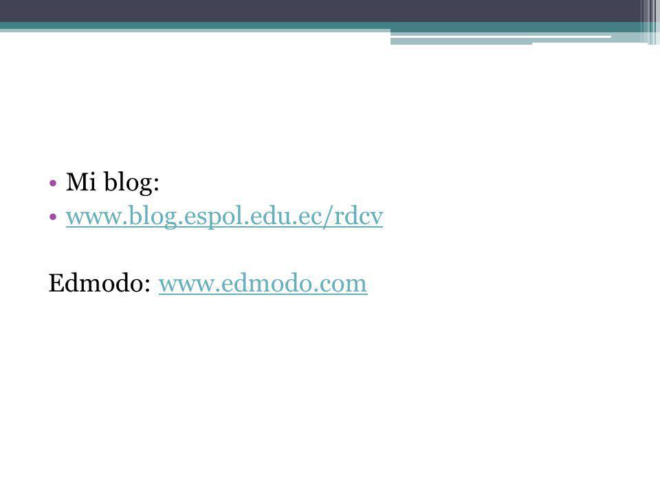 Mi blog: www.blog.espol.edu.ec/rdcv Edmodo: www.edmodo.comwww.edmodo.com