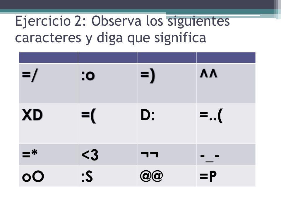Ejercicio 2: Observa los siguientes caracteres y diga que significa D:=..( =*<3¬¬-_- oO:S@@=P