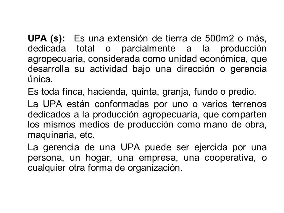 UPA (s):Es una extensión de tierra de 500m2 o más, dedicada total o parcialmente a la producción agropecuaria, considerada como unidad económica, que