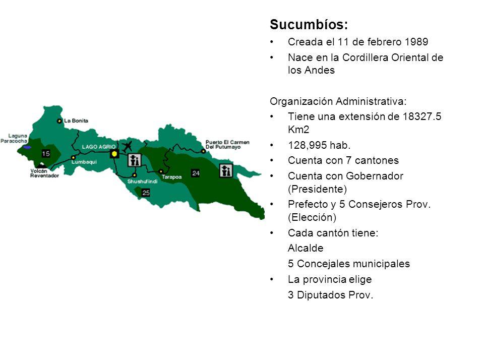 Sucumbíos: Creada el 11 de febrero 1989 Nace en la Cordillera Oriental de los Andes Organización Administrativa: Tiene una extensión de 18327.5 Km2 12
