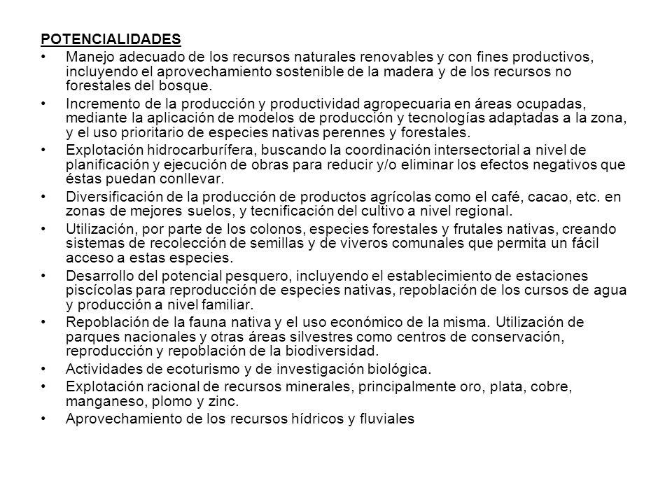 POTENCIALIDADES Manejo adecuado de los recursos naturales renovables y con fines productivos, incluyendo el aprovechamiento sostenible de la madera y