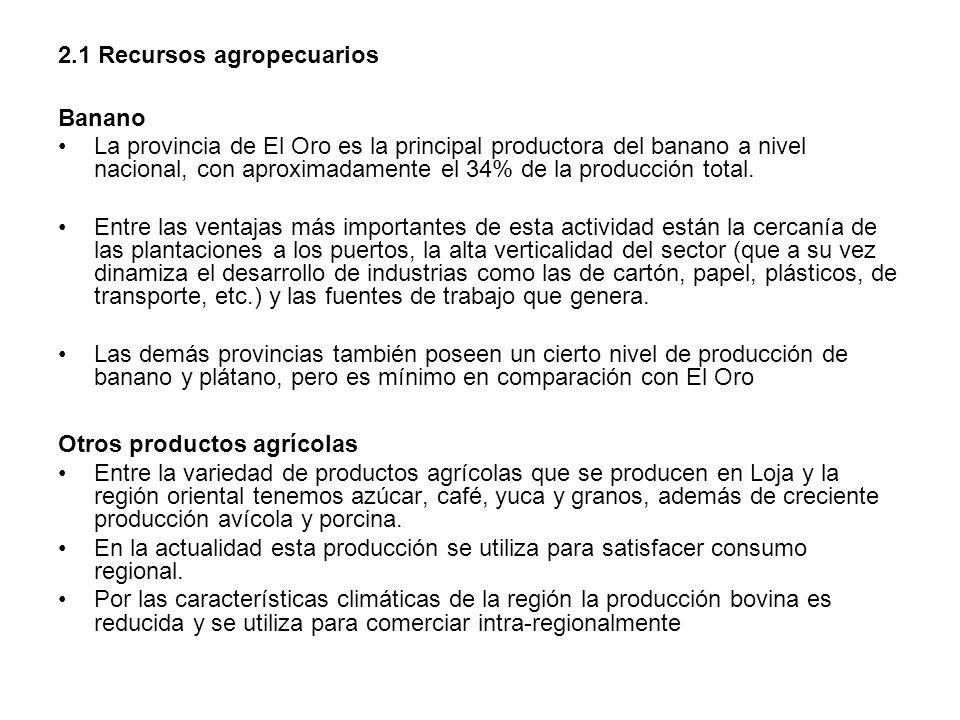 2.1 Recursos agropecuarios Banano La provincia de El Oro es la principal productora del banano a nivel nacional, con aproximadamente el 34% de la prod