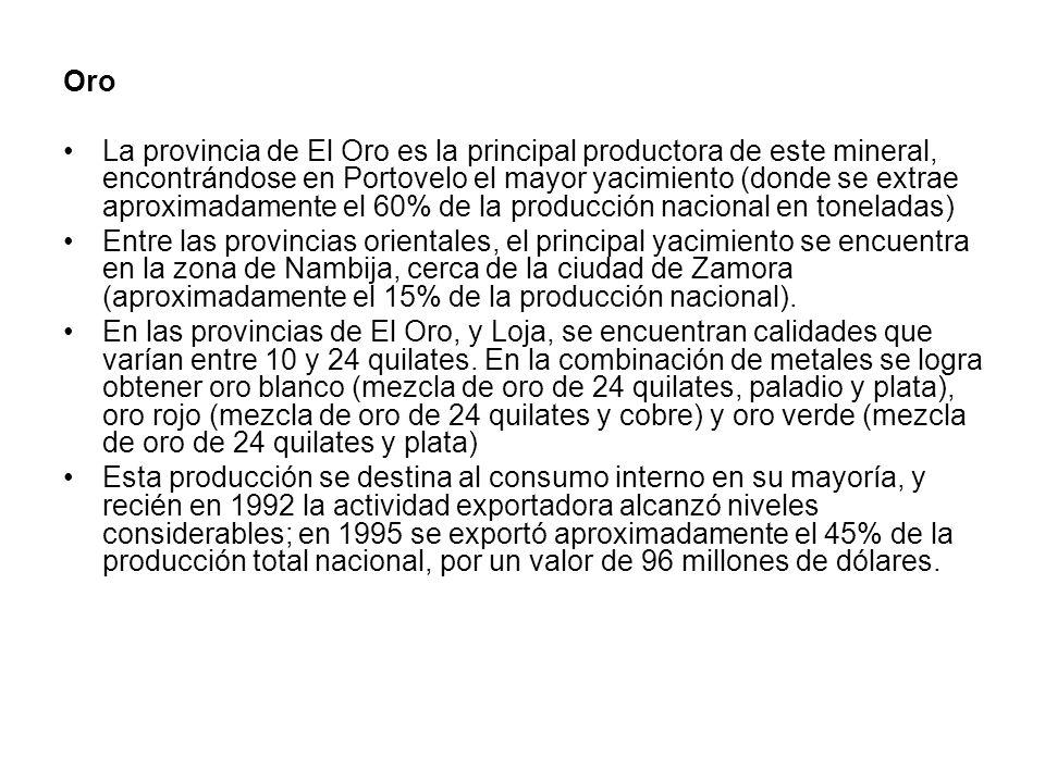 Oro La provincia de El Oro es la principal productora de este mineral, encontrándose en Portovelo el mayor yacimiento (donde se extrae aproximadamente