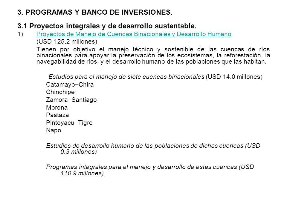 3. PROGRAMAS Y BANCO DE INVERSIONES. 3.1 Proyectos integrales y de desarrollo sustentable. 1)Proyectos de Manejo de Cuencas Binacionales y Desarrollo