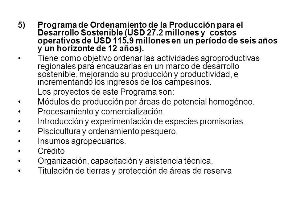 5)Programa de Ordenamiento de la Producción para el Desarrollo Sostenible (USD 27.2 millones y costos operativos de USD 115.9 millones en un período d