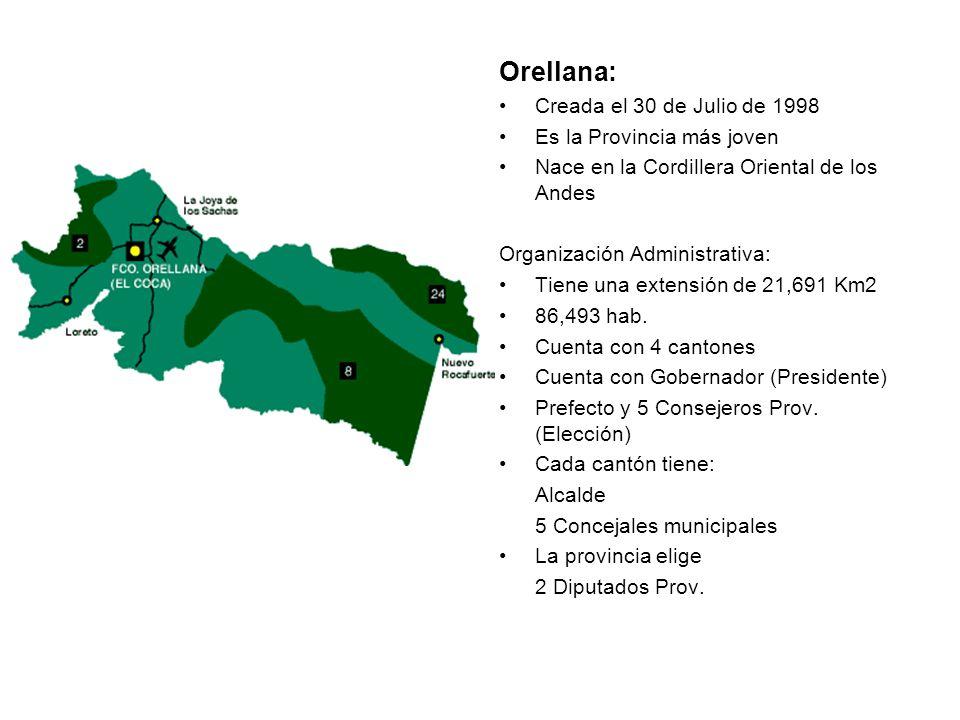 Orellana: Creada el 30 de Julio de 1998 Es la Provincia más joven Nace en la Cordillera Oriental de los Andes Organización Administrativa: Tiene una e
