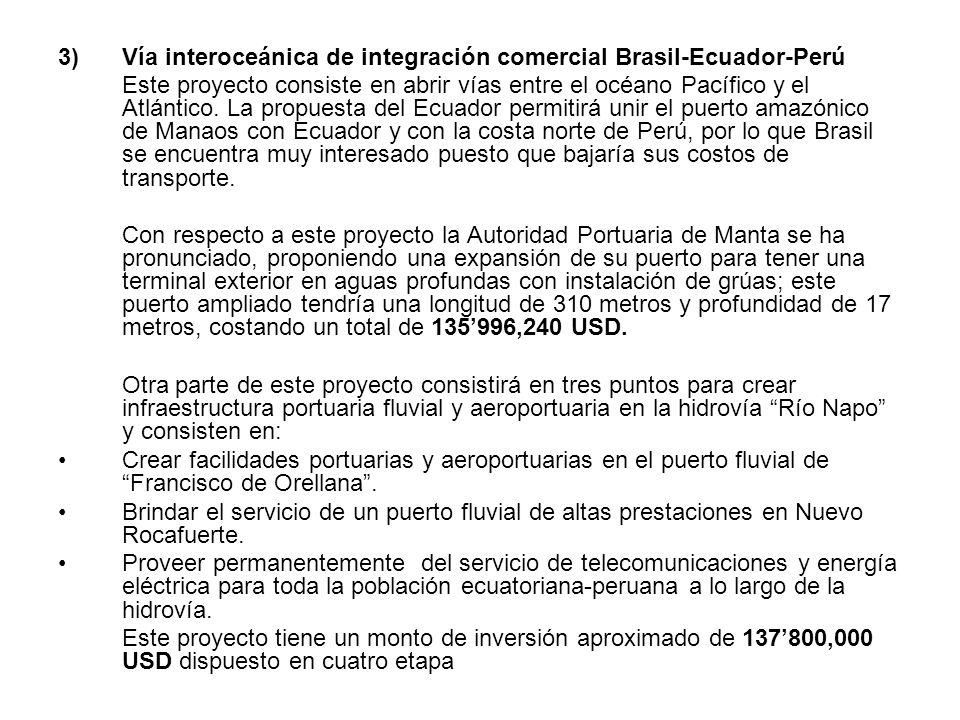 3)Vía interoceánica de integración comercial Brasil-Ecuador-Perú Este proyecto consiste en abrir vías entre el océano Pacífico y el Atlántico. La prop