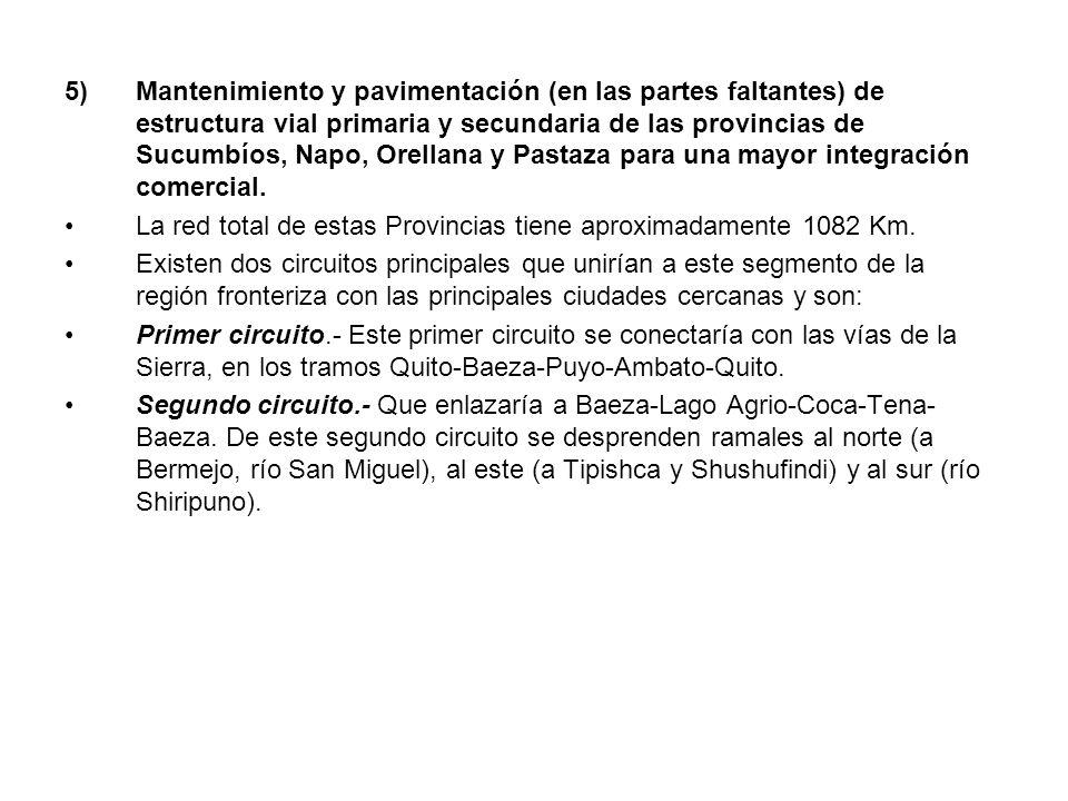 5)Mantenimiento y pavimentación (en las partes faltantes) de estructura vial primaria y secundaria de las provincias de Sucumbíos, Napo, Orellana y Pa