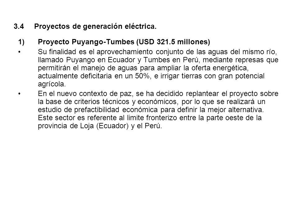 1) Proyecto Puyango-Tumbes (USD 321.5 millones) Su finalidad es el aprovechamiento conjunto de las aguas del mismo río, llamado Puyango en Ecuador y T