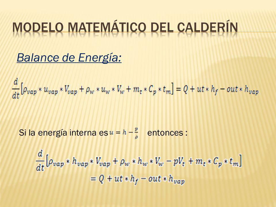 Si la energía interna esentonces : Balance de Energía: