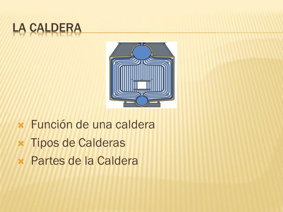 Función de una caldera Tipos de Calderas Partes de la Caldera