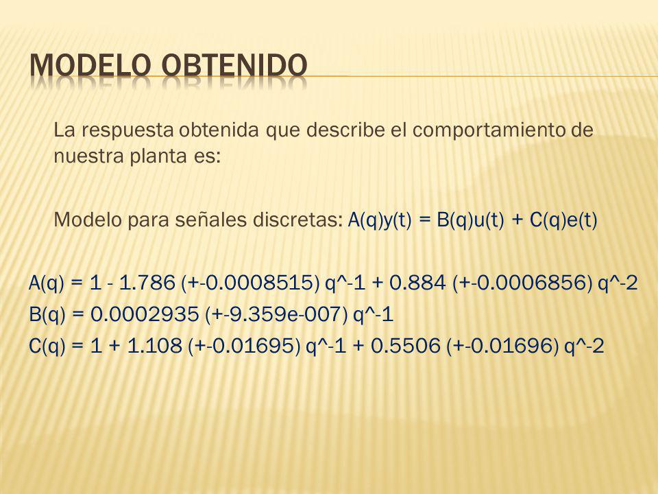 La respuesta obtenida que describe el comportamiento de nuestra planta es: Modelo para señales discretas: A(q)y(t) = B(q)u(t) + C(q)e(t) A(q) = 1 - 1.