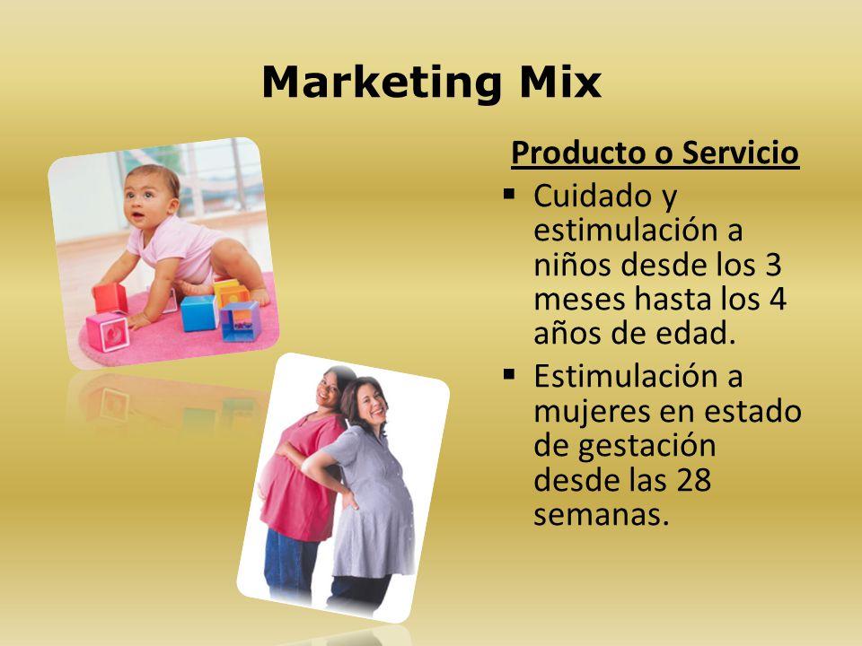 Marketing Mix Producto o Servicio Cuidado y estimulación a niños desde los 3 meses hasta los 4 años de edad. Estimulación a mujeres en estado de gesta