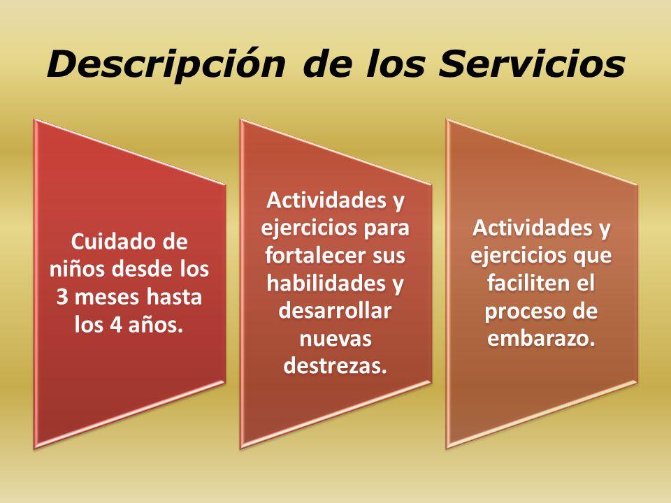 Descripción de los Servicios Cuidado de niños desde los 3 meses hasta los 4 años. Actividades y ejercicios para fortalecer sus habilidades y desarroll