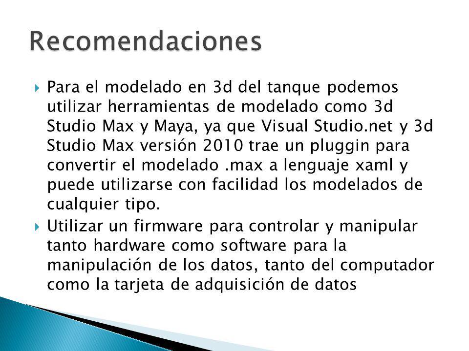 Para el modelado en 3d del tanque podemos utilizar herramientas de modelado como 3d Studio Max y Maya, ya que Visual Studio.net y 3d Studio Max versió