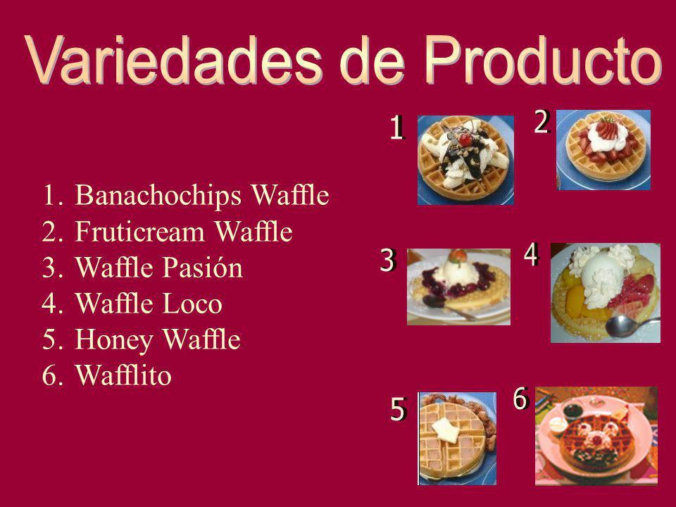 1. Banachochips Waffle 2. Fruticream Waffle 3. Waffle Pasión 4. Waffle Loco 5. Honey Waffle 6. Wafflito